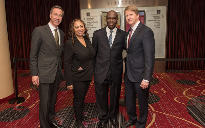 Marriott Pres and CEO Arne Sorenson, Debert Cook, TNJ Publisher and CEO Aziz Gueye Adetimirin, David Marriott