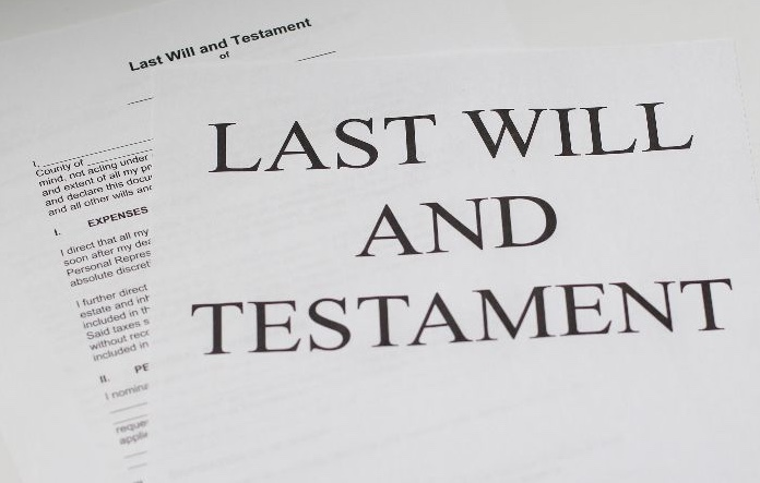 Last will and testament in text