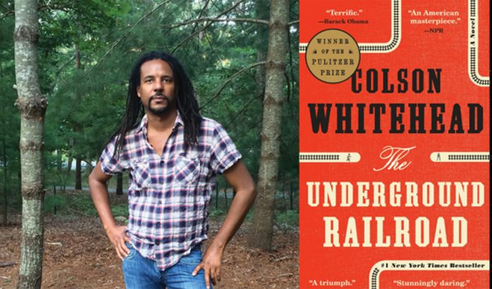 Colson Whitehead stands in a forest