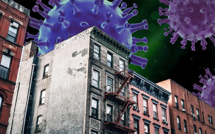Apartment buildings with a purple image looming above