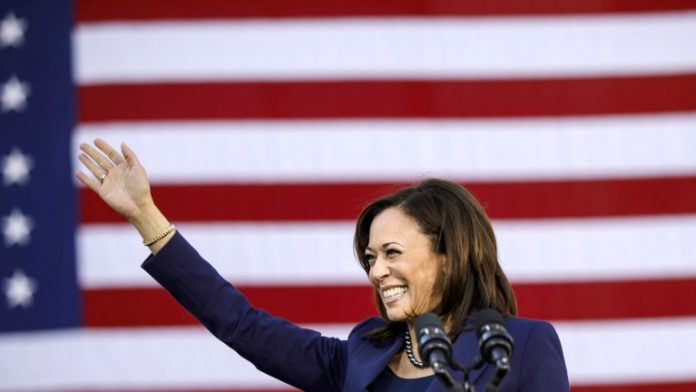 Kamala Harris smiling in front of the American flag
