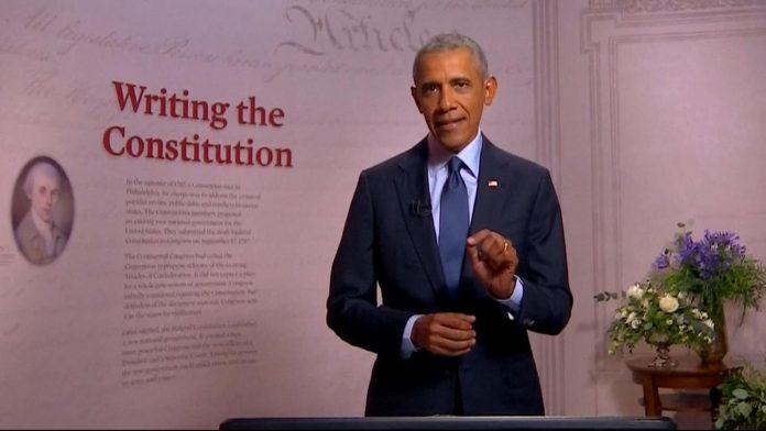 Barack Obama giving a speech in Philadelphia