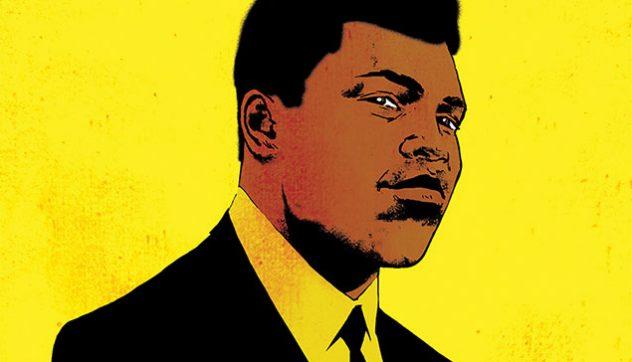 Cartoon version of Muhammad Ali on a yellow backdrop
