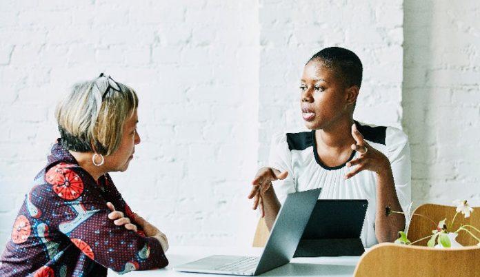 Woman advising a client
