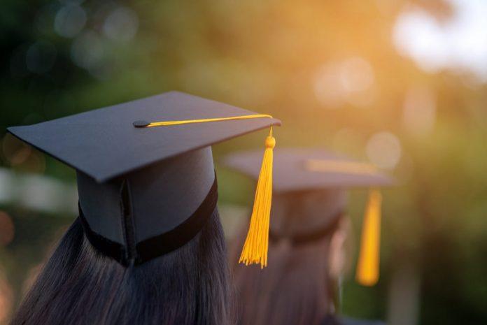 students in graduation attire