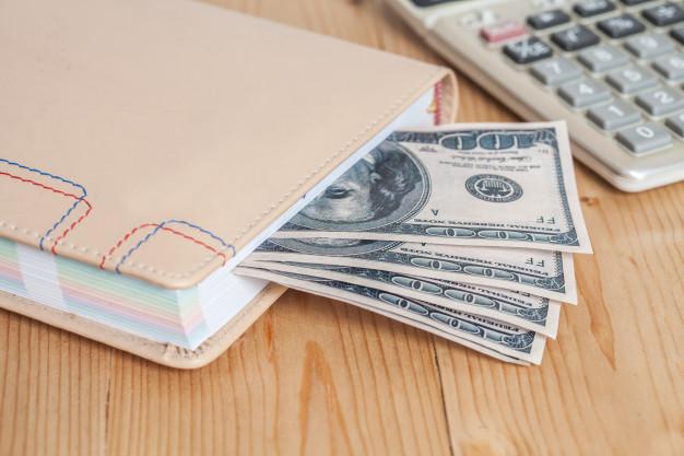 cash in a notebook