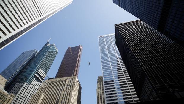 tops of office buildings