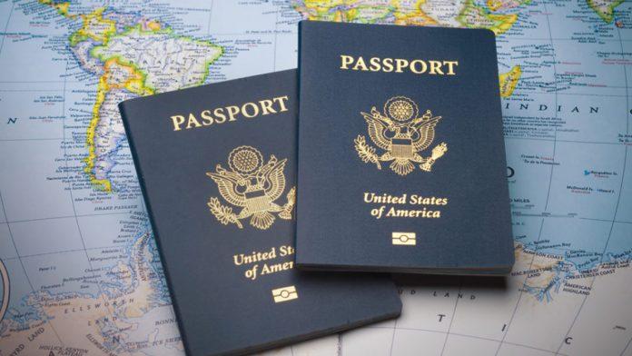 2 passports on a map