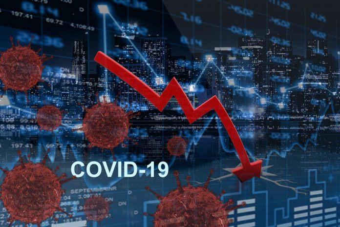 stock market signage spiking downward
