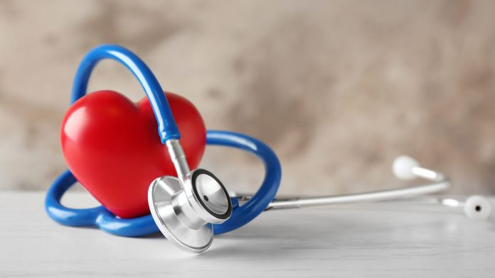 stethescope with red heart